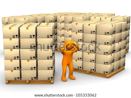 Orange cartoon character with a pallets on the white background.