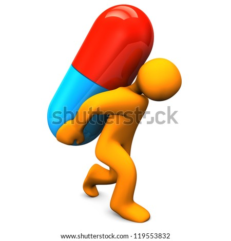 Orange cartoon character with big pill. White background.