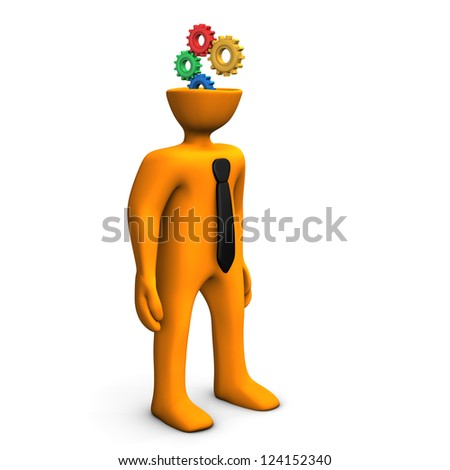 Orange cartoon character with black tie and gears in the head.