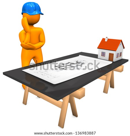Orange cartoon character with blue helmet and construction plan. White background.