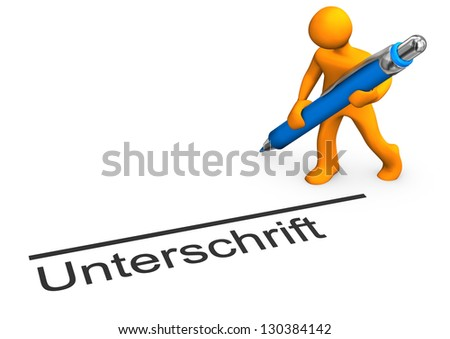 "Orange cartoon character with blue pen and german text ""unterschrift"" translate ""signature""."