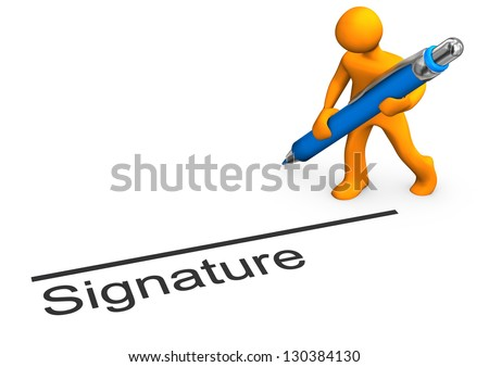 """Orange cartoon character with blue pen and text """"signature""""."""