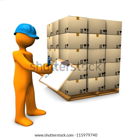 Orange cartoon character with clipboard and pallet. White background.