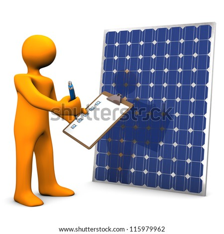 Orange cartoon character with clipboard and solar panel.