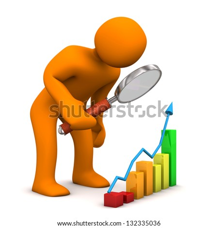 Orange cartoon character with colorful chart. White background.