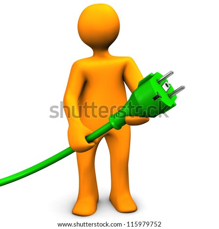 Orange cartoon character with green connector. White background.
