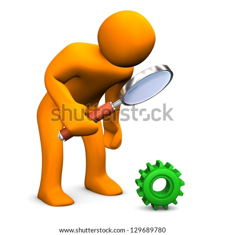 Orange cartoon character with green gear and loupe.