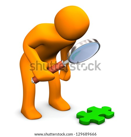 Orange cartoon character with loupe and green puzzle.