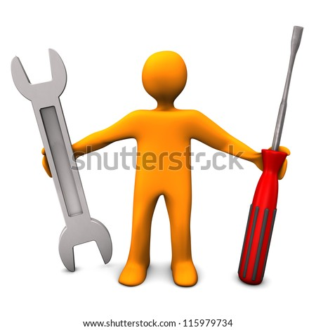 Orange cartoon character with spanner and screwdriver.