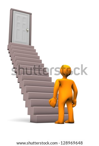 Orange cartoon character with stair. White background.