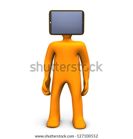 Orange cartoon character with tablethead. White background.