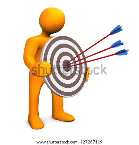 Orange cartoon character with target and three arrows.