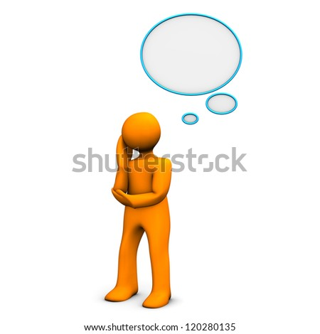 Orange cartoon character with thought bubble. White background.