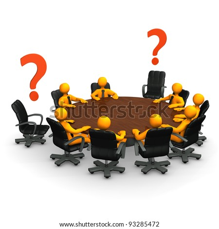 Orange cartoon characters on round table with red question marks.