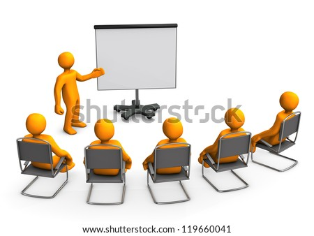 Orange cartoon characters sit in on a lecture.