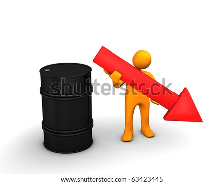 Orange cartoon with a red arrow and barrel of oil on the white.