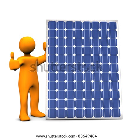 Orange cartoon with photovoltaic panel, on white background.