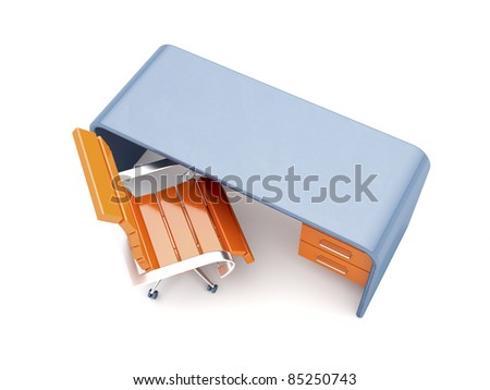 Orange chair and blue desk