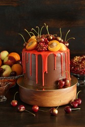 Orange Chocolate Cake with Fresh Fruit.  Beautiful summer fruit pastries
