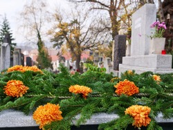 Orange chrysanthemum  flowers and fir tree branches decorate a tomb at the cemetery on All Souls Day. The Day of the Dead is a traditional day to honor the memory of departed relatives.