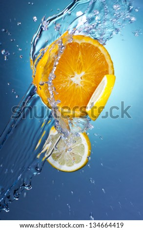 Orange Citrus Fruit with Water Splash