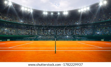 Orange clay tennis court and illuminated outdoor arena with fans, referee side view, professional tennis sport 3d illustration background.