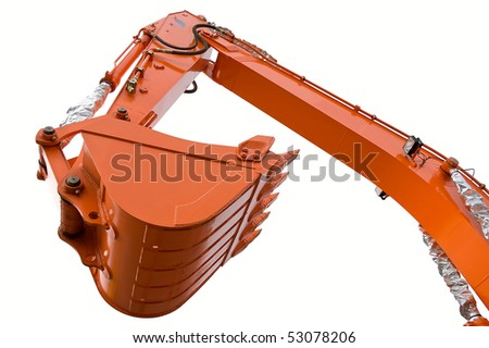 Orange clear excavator bucket isolated over white with clipping path. Close up.