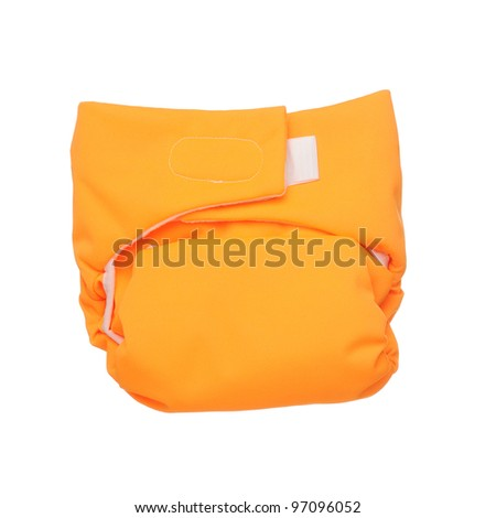 Orange cloth diaper isolated on white background