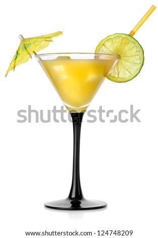 Orange cocktail in a glass isolated on a white background