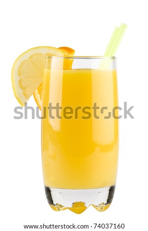 Orange cocktail isolated on white background