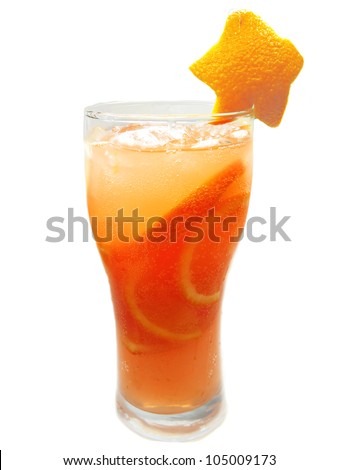 orange cocktail juice drink with ice and mint - stock photo