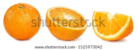 Orange collection. Orange fruits isolated on white background. Orange Clipping Path
