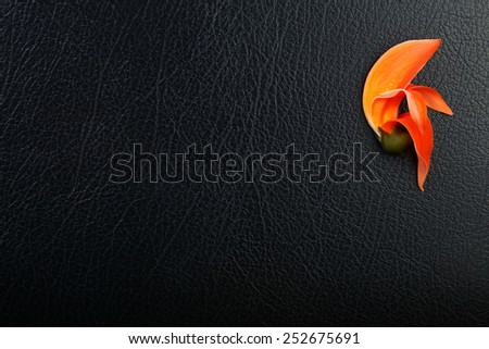 Orange color flower put on the black color leather surface background represent the flora shape pattern idea and concept related.