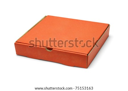 Orange color pizza takeaway box on white background
