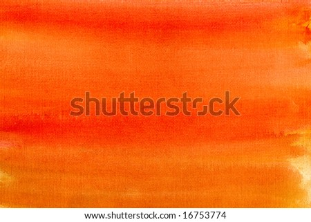 Orange colors painted canvas watercolor wash background.