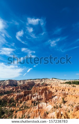 Orange colours in this iconic view of Bryce Canyon National Park, USA