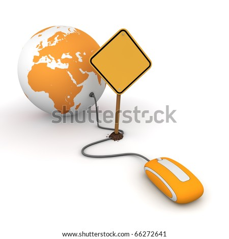 orange computer mouse is connected to a orange globe - surfing and browsing is blocked by a yellow  warning sign that cuts the cable - sign as an empty template for your own text