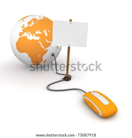 orange computer mouse is connected to an orange globe - surfing and browsing is blocked by a white rectangular sign that cuts the cable - empty template