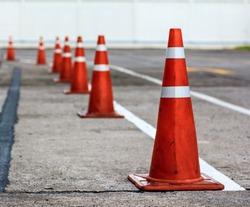 orange cones set up to direct traffic