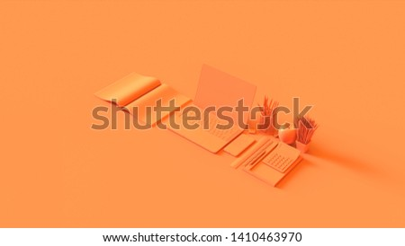 Orange Contemporary Hot Desk Office Setup with Laptop Mobile Phone Notepads Pens Magazine Calculator an Bull clips 3d illustration 3d rendering
