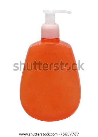 Orange cosmetic container isolated on white background.