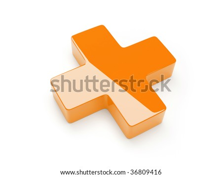 Orange Cross Isolated On White Background