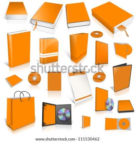 Orange 3d blank cover collection, isolated on white