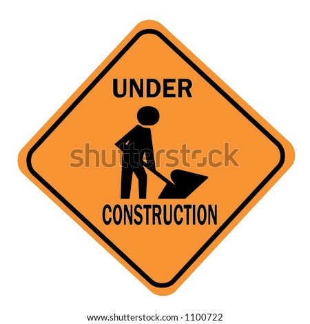 Orange Diamond Under Construction Sign with a work symbol displayed isolated on a white background