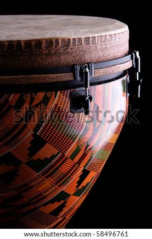 Orange Djembe on Black Background