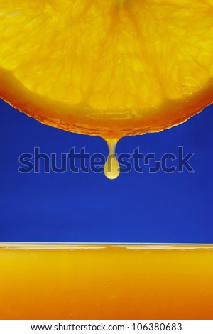 Orange drop with blue background