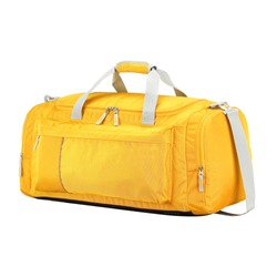 Orange Duffle Bag Isolated on White Background. Side View Foldable Striped Travel Bag with Top Closure and Zippered Compartment. Luggage Handbag