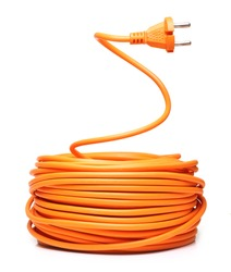Orange electric cable isolated on white