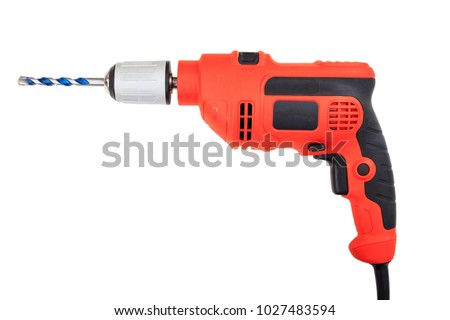 Orange electric drill isolated on white background