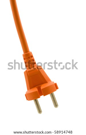 orange electric plug isolated on white background